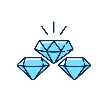 Precious gems RGB color icon. Gemstones for jewelery. Luxury diamond. Treasure for investment. Glowing brilliant. Fashion and glamor. Faceted precious stones. Isolated vector illustration Vecteurs