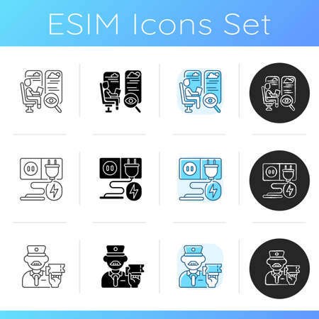 Luxury train service icons set. Linear, black and RGB color styles. Seats with good view, ticket inspector and charging sockets. Railroad travel with comfort. Isolated vector illustrations
