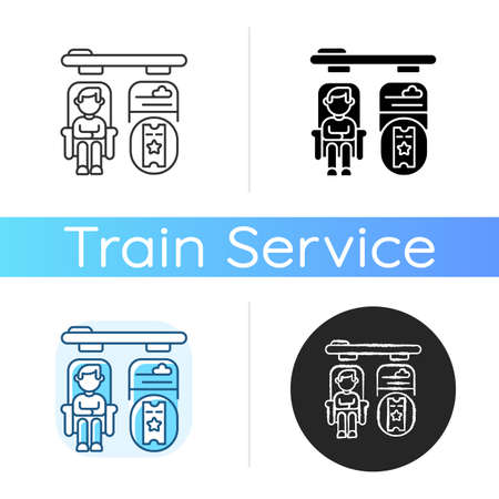 Private accommodations icon. Linear black and RGB color styles. Luxury travel, premium class railway service. Passenger booking best seats. VIP train tickets. isolated vector illustrations