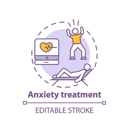 Anxiety treatment concept icon. Panic attack idea thin line illustration. Rapid heart rate. Increased alertness, worry and fear. Vector isolated outline RGB color drawing. Editable stroke