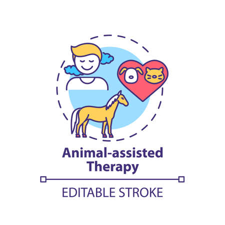 Animal-assisted therapy concept icon. Treatment session idea thin line illustration. Pet therapy. Interacting with animal. Human-animal bond. Vector isolated outline RGB color drawing. Editable stroke