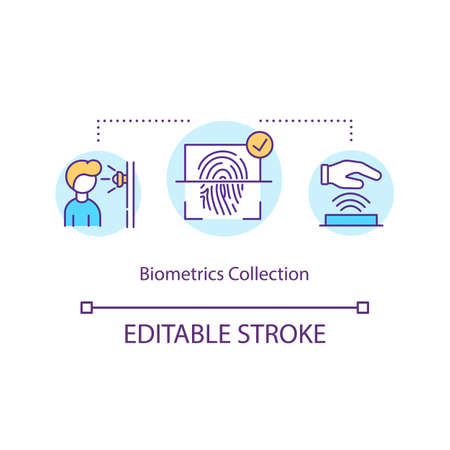 Biometric collection concept icon. Discernment by finger, palm and retinal scan. Identification safety system idea thin line illustration. Vector isolated outline RGB color drawing. Editable stroke Illusztráció