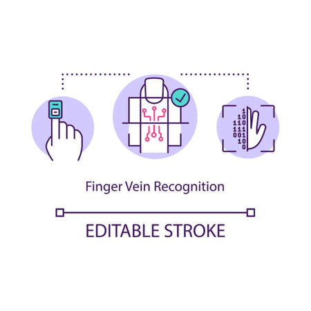 Finger vein recognition concept icon. Scanner touch screen. Coding big data. Access of fingerprint idea thin line illustration. Vector isolated outline RGB color drawing. Editable stroke