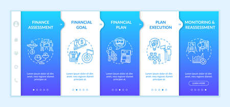 Financial planning process onboarding vector template. Money assessment. Earnings plan. Monitoring. Responsive mobile website with icons. Webpage walkthrough step screens. RGB color concept Ilustração