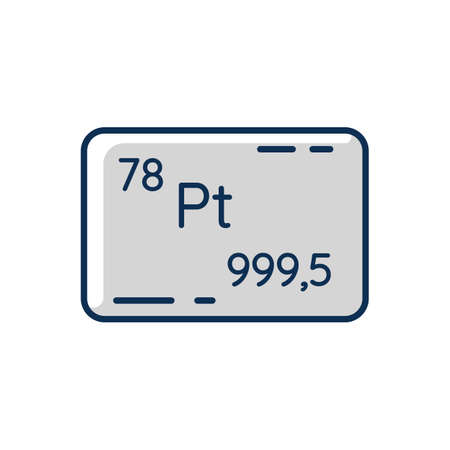Platinum RGB color icon. Precious metal. Bullion for deposit. Industrial asset. Standard of wealth. Commodity for economic increase. Atomic number of element. Isolated vector illustration