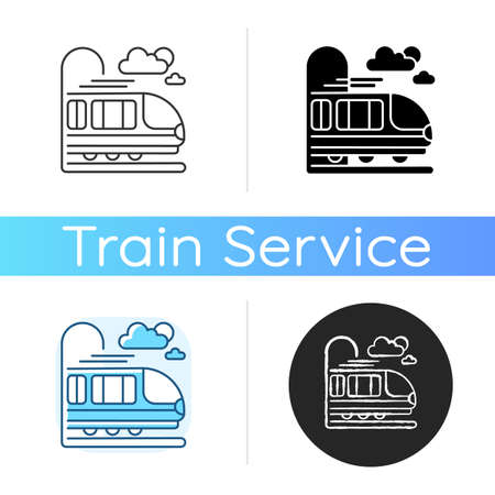 Coach car icon. Linear black and RGB color styles. Modern railroad transportation, quick railway vehicle. Express commuter train, fast intercity travel. isolated vector illustrations