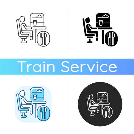 Dining car icon. Linear black and RGB color styles. Traveling with comfort, train restaurant. Train service, onboard buffet. Passenger eating meal on trip isolated vector illustrations