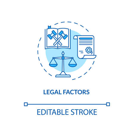 Legal factors concept icon. Communication life saving tips. PESTEL analysis. Law information idea thin line illustration. Vector isolated outline RGB color drawing. Editable stroke