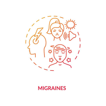 Migraines concept icon. Headache trigger idea thin line illustration. Prevalent neurological disease. Pulsing sensation. Light, sound, smell sensitivity. Vector isolated outline RGB color drawing Stock Illustratie