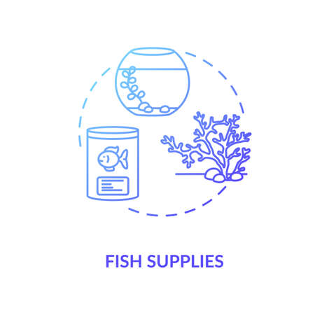 Fish supplies concept icon. Pets store items offers. Best fishes snacks to buy. Underwater stone decoration. Pet store idea thin line illustration. Vector isolated outline RGB color drawing