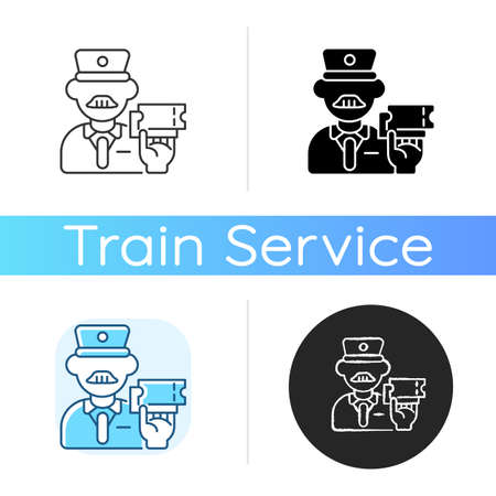 Ticket inspector icon. Linear black and RGB color styles. Train travel, railroad transportation service. Railway company worker, controller checking tickets isolated vector illustrations