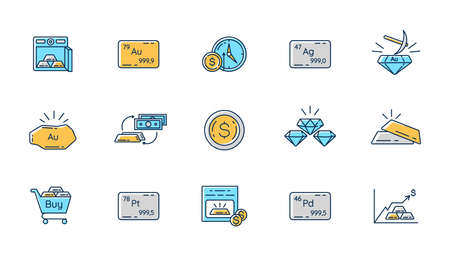 Precious metals and investment RGB color icons set. Business investment. Mining production. Unallocated bank account. Monetary gain. Commemorative coin. Gem and jewelry. Isolated vector illustrations