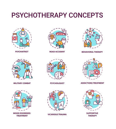 Psychotherapy concept icons set. Mental health treatment idea thin line RGB color illustrations. Psychiatrist. Road accident. Behavioral therapy. Vector isolated outline drawings. Editable stroke Vektorové ilustrace
