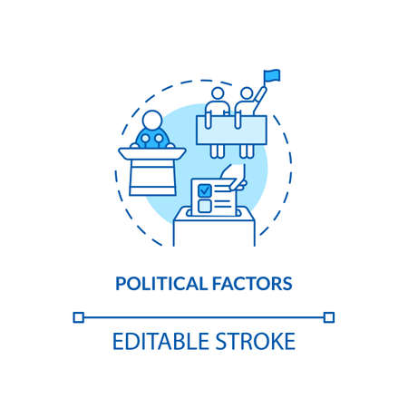 Political factors concept icon. PESTEL analysis. Election issues. Business stopping problems idea thin line illustration. Vector isolated outline RGB color drawing. Editable stroke Çizim