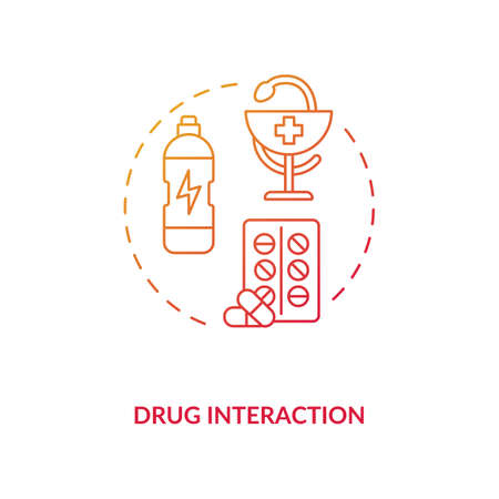 Drug interaction concept icon. Medication taking idea thin line illustration. Energetics danger. Drug-food interaction. Reaction between drug and beverage. Vector isolated outline RGB color drawing