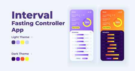 Interval fasting controller smartphone interface vector template set. Mobile app page light and dark theme design layout. Daily diet tracker screen. Flat UI for application. Phone display