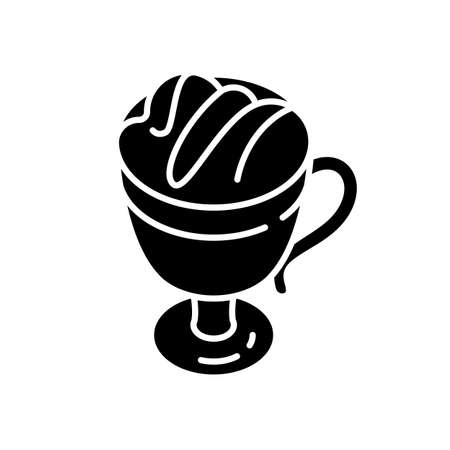Macchiato black glyph icon. Coffee drink in glass mug. Frappe with foam. Hot beverage in cup. Coffee shop product. Caffeinated liquid. Silhouette symbol on white space. Vector isolated illustration Vectores