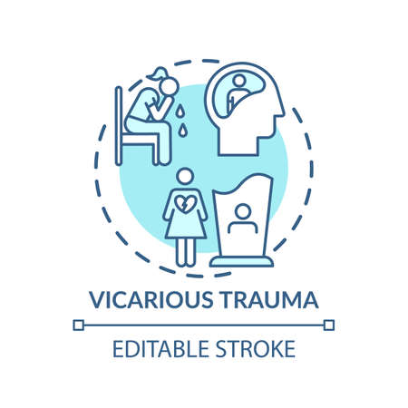 Vicarious trauma concept icon. Working with trauma survivor clients idea thin line illustration. Grief feelings. Greater sensitivity. Vector isolated outline RGB color drawing. Editable stroke Ilustrace
