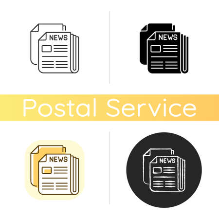 Newspaper chalk white icon. Linear black and RGB color styles. Mass media, postal service, journalism. Daily paper delivery. Information about latest events in world. Isolated vector illustrations