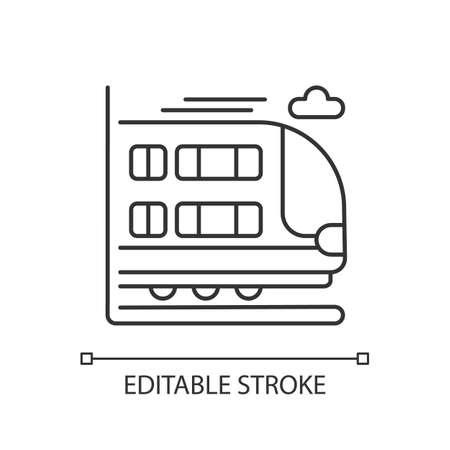 Bilevel train linear icon. Double decker rail car. Modern railway transport, thin line customizable illustration. Contour symbol. Large commuter train. Vector isolated outline drawing. Editable stroke