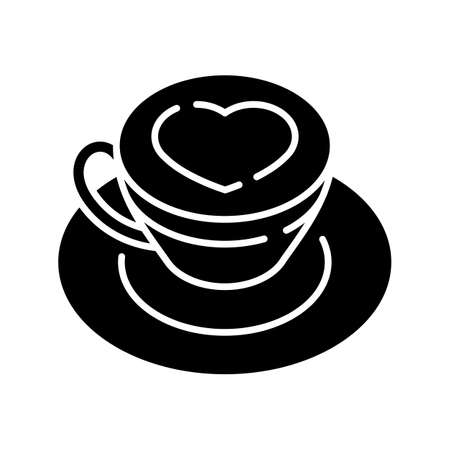 Cappuccino black glyph icon. Coffee with heart on foam. Hot drink in mug. Beverage in cup. Cafe menu. Coffee with heart on foam. Silhouette symbol on white space. Vector isolated illustration