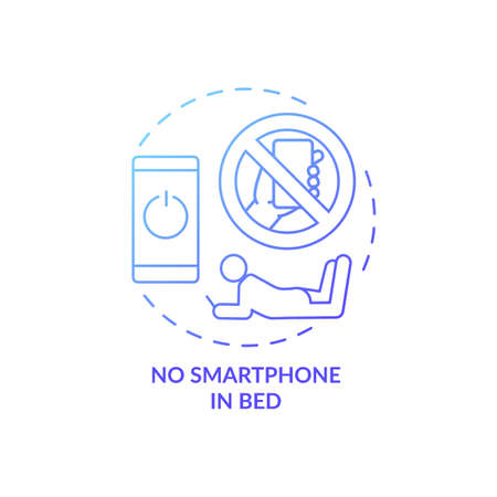 No smartphone in bed blue gradient concept icon. Avoid phone using before bedtime. Nighttime routine. Sleep regulation idea thin line illustration. Vector isolated outline RGB color drawing