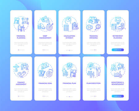 Financial literacy onboarding mobile app page screen with concepts set. Money making plan. Better life walkthrough 5 steps graphic instructions. UI vector template with RGB color illustrations