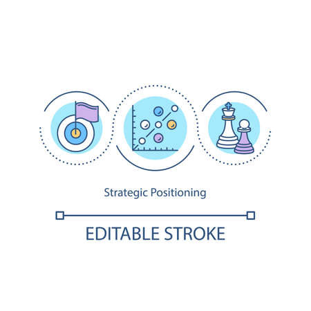 Strategic positioning concept icon. Marketing analysis. Management. Business strategy target idea thin line illustration. Vector isolated outline RGB color drawing. Editable stroke Ilustracje wektorowe