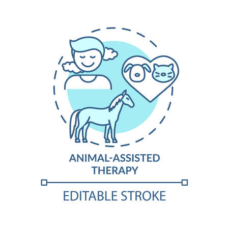 Animal-assisted therapy concept icon. Treatment session idea thin line illustration. Physical, mental issues help. Blood pressure reducing. Vector isolated outline RGB color drawing. Editable stroke
