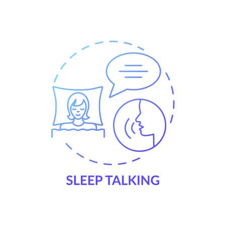 Sleeptalking blue gradient concept icon. Talk while asleep. Parasomnia symptom. Psychological problem. Sleep disorder idea thin line illustration. Vector isolated outline RGB color drawing Vektoros illusztráció