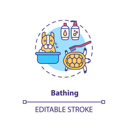 Bathing concept icon. Grooming services types. Animal salon. Dog and cat washing. Veterenary services idea thin line illustration. Vector isolated outline RGB color drawing. Editable stroke
