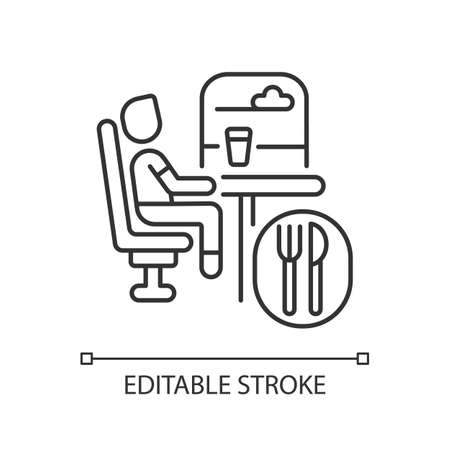 Dining car linear icon. Traveling with comfort, train restaurant. Train service, onboard buffet thin line customizable illustration. Contour symbol. Vector isolated outline drawing. Editable stroke