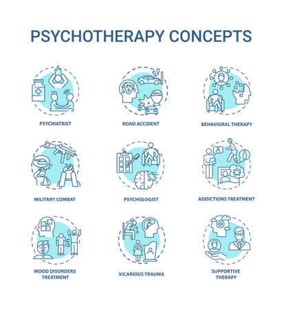 Psychotherapy concept icons set. Mental health treatment idea thin line RGB color illustrations. Military combat. Psychologist. Addictions treatment. Vector isolated outline drawings. Editable stroke 向量圖像