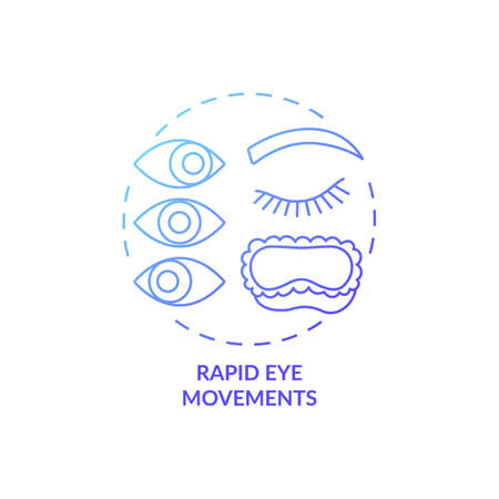 Rapid eyes movement blue gradient concept icon. Sleeping cycle. Dreaming phase while asleep. Rest pattern. REM stage idea thin line illustration. Vector isolated outline RGB color drawing