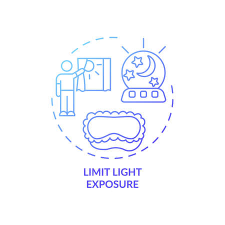 Limit light exposure blue gradient concept icon. Avoid sunlight before bedtime. Nighttime routine. Sleep improvement idea thin line illustration. Vector isolated outline RGB color drawing