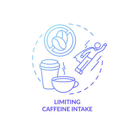 Limiting caffeine intake blue gradient concept icon. Avoid coffee and tea before bedtime. Improve sleep hygiene idea thin line illustration. Vector isolated outline RGB color drawing 版權商用圖片 - 155761347
