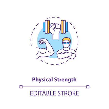 Physical strength building concept icon. Sports energy drinks idea thin line illustration. Power performance. Enhancing muscle contraction. Vector isolated outline RGB color drawing. Editable stroke