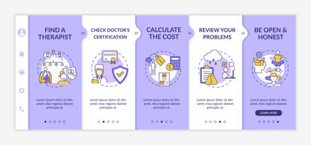 Psychotherapy treatment steps onboarding vector template. Doctor license. Problems review. Cost calculator. Responsive mobile website with icons. Webpage walkthrough step screens. RGB color concept