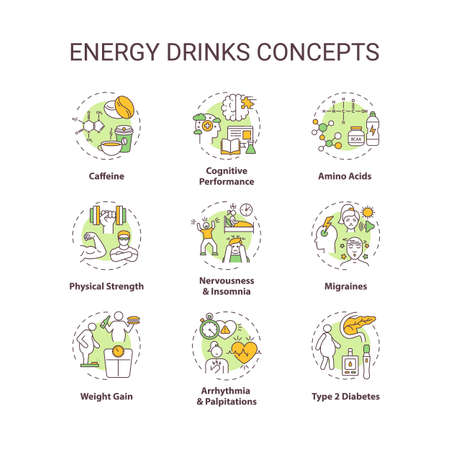 Energy drinks concept icons set. Health effects idea thin line RGB color illustrations. Caffeine. Cognition. Amino acids. Physical strength. Vector isolated outline drawings. Editable stroke