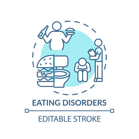 Eating disorders concept icon. Complex mental health conditions idea thin line illustration. Anorexia nervosa. Bulimia. Eating behavior. Vector isolated outline RGB color drawing. Editable stroke