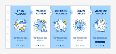Posttraumatic stress causes onboarding vector template. Road accident, military combat, sexual abuse. Responsive mobile website with icons. Webpage walkthrough step screens. RGB color concept 向量圖像