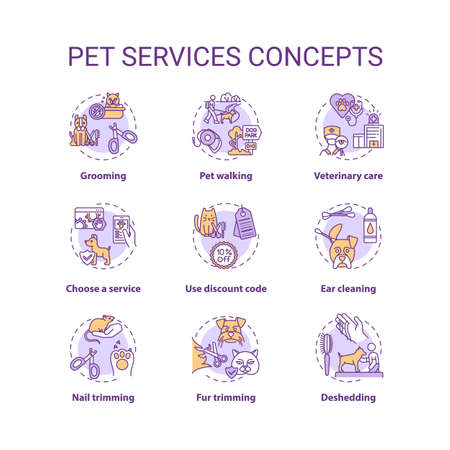 Pet services concept icons set. Grooming salon services app. Grooming services types. Animale care idea thin line RGB color illustrations. Vector isolated outline drawings. Editable stroke Vektorové ilustrace