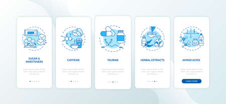 Energetics components onboarding mobile app page screen with concepts. Sugar, amino acids, taurine walkthrough 5 steps graphic instructions. UI vector template with RGB color illustrations