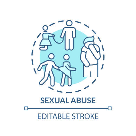 Sexual abuse concept icon. Domestic violence idea thin line illustration. Sexual assault therapy. Molestation, groping. Survivor life. Vector isolated outline RGB color drawing. Editable stroke