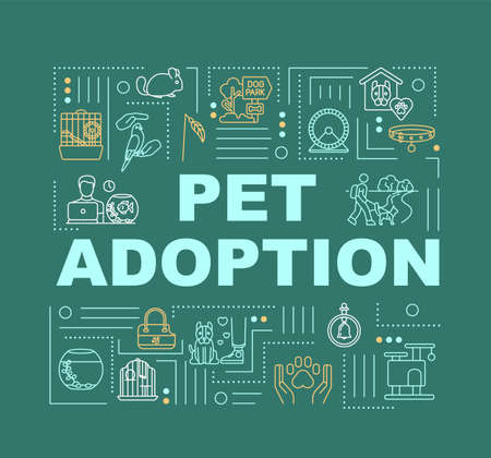 Pet adoption service word concepts banner. Animal shelters. Pet adaptation tips. Infographics with linear icons on green background. Isolated typography. Vector outline RGB color illustration