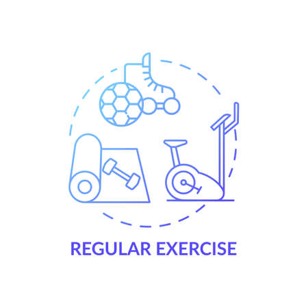Regular exercise blue gradient concept icon. Workout routine. Cardio training in gym. Body care for better sleep idea thin line illustration. Vector isolated outline RGB color drawing