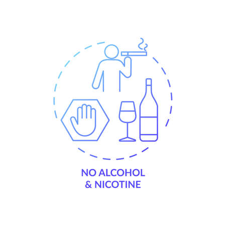 No alcohol and nicotine blue gradient concept icon. Avoid dangerous habit. Health risk caution. Improve sleep hygiene idea thin line illustration. Vector isolated outline RGB color drawing