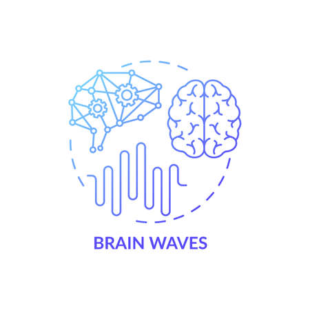 Brain waves blue gradient concept icon. Clinical screening. Cerebral study. Neurology test. Medical examination idea thin line illustration. Vector isolated outline RGB color drawing Иллюстрация