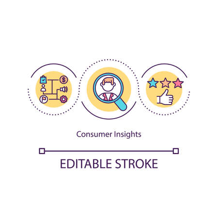 Consumer insights concept icon. Social media and neuromarketing. Business solution. Feedback idea thin line illustration. Vector isolated outline RGB color drawing. Editable stroke Vetores