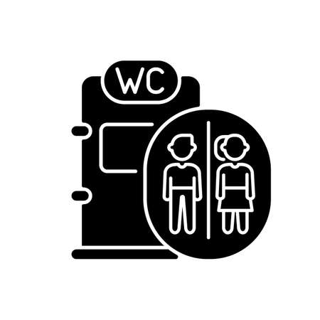 Onboard train toilet black glyph icon. Railway passenger transportation, railroad travel service silhouette symbol on white space. Male and female lavatory in train vector isolated illustration